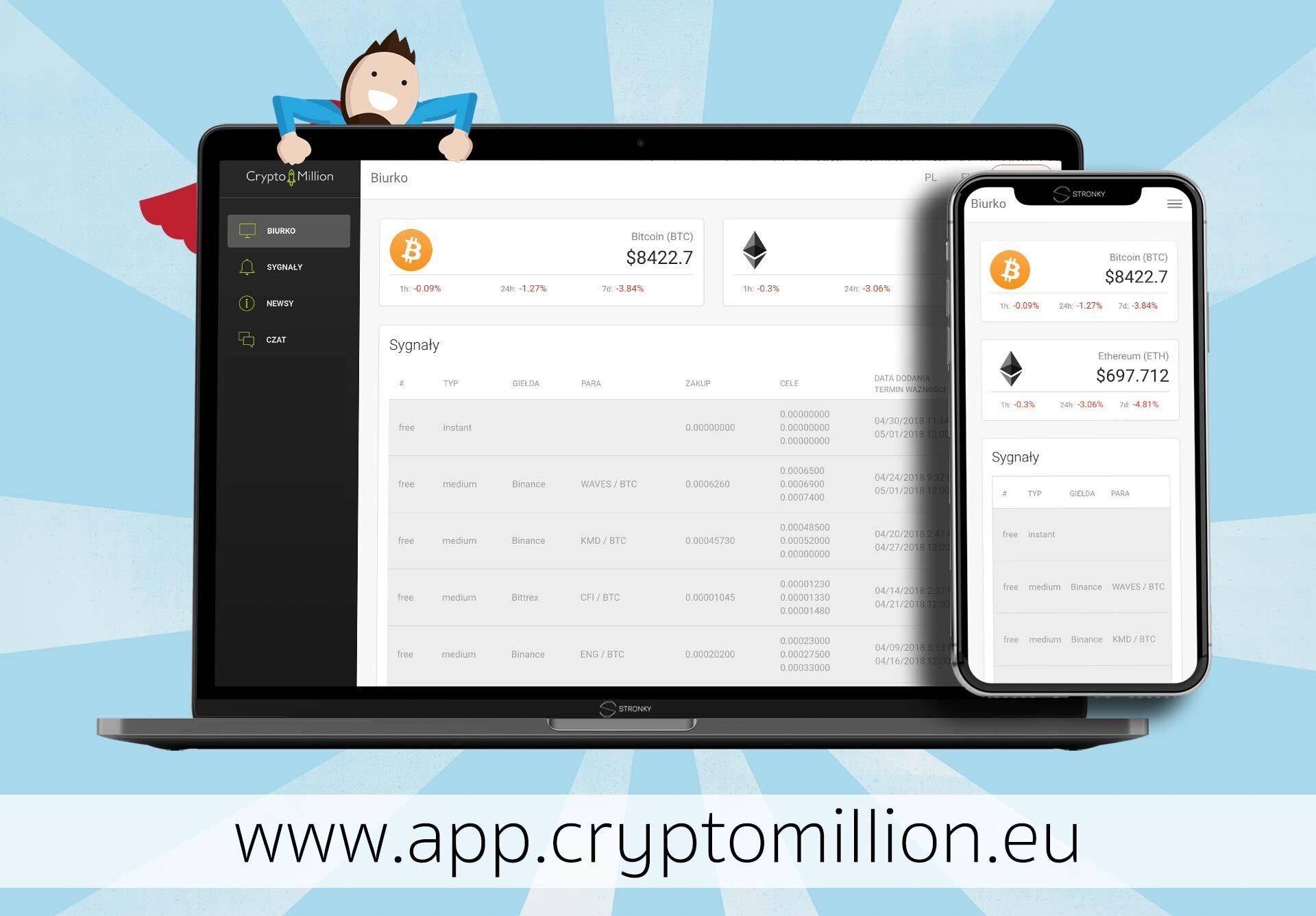 Crypto Million App - screen